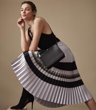 Reiss Sophia - metallic knife pleat skirt